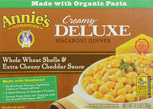 Annie's Homegrown, Deluxe Whole Wheat Shells with Extra Cheddar, 9.5 oz (Whole Grain Mac And Cheese compare prices)