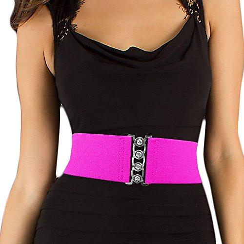 LUNA Fashion 3 Inch Elastic Cinch Belt - Solid - Pink
