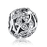 Bamoer Daisy CZ Charms with 925 Sterling Silver For DIY Charms Bracelet Necklaces