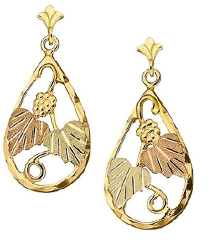 Stamper 12K Black Hills Gold Dangle Earrings. E316/PB