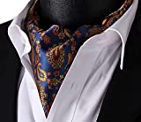 Lingswallow Blue Orange Floral Men 100% Silk Cravat Ties Jacquard Woven Ascot