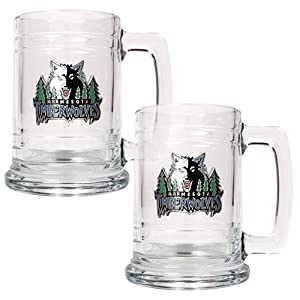Minnesota Timberwolves NBA 2pc 15oz Glass Tankard Set - Primary Logo by Great American