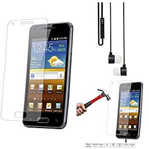 Qualitas Pack of 3 Tempered Glass for Sony Xperia T2 Ultra + Black Stereo Earphone with Mic and Volume Control