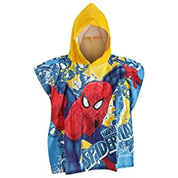 Spiderman Childrens/Boys Hooded Poncho Beach Towel (One Size) (Multicoloured)