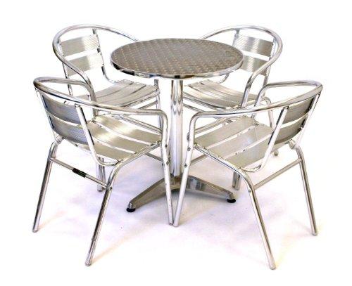 Aluminium Bistro Set, Garden Set - 4 x Aluminium Chairs & 1 Aluminium Table