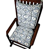Rocking Chair Cushions - Bali Blue Ikat - Seat Cushion and Back Rest - Latex Foam Fill, Reversible- Made in USA (Extra-Large)