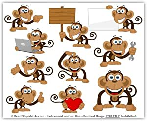 Amazon.com: Cartoon Monkey Clip Art - Cute Monkey Mascot Stock