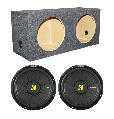 "2) Kicker Comps 40Cws104 10"" 1200W Car Subwoofers +Dual Sealed Sub Box Enclosure"