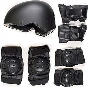 SKATEBOARD / SKATE PROTECTION SET WITH HELMET elbow knee pads for kids scooter BMX skate board (M)
