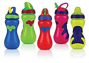 Nuby Gator Grip Sports Bottle with Flip-It Top Sipper, Colors May Vary, 15-Ounce
