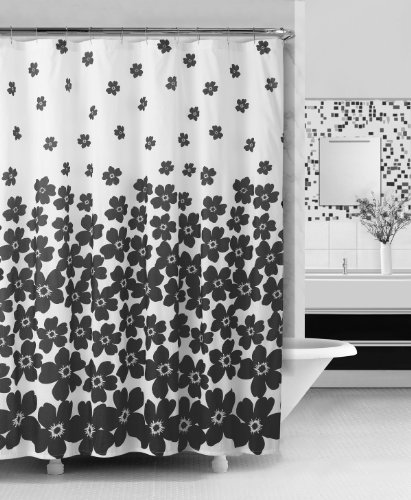 Embossed Fabric Shower Curtain Black And White Floral Design Shower Curtains Outlet Shower