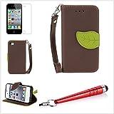 Alefant PU Leder Blatt Textur Flip Book Stil Handyh�lle mit Kartenfach f�r iPhone 4 4s Tasche Schale (Braun)