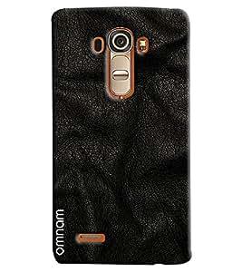 Omnam Black Leather Lying Effect Printed Designer Back Cover Case For LG G4