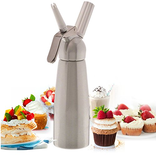 PrimoCream Whipped Cream Dispenser 500 ml - High Polished Aluminum - Professional Kitchen Tool for Baking, Decorating, Desserts etc. - Easy to use and Clean | Sleek Aluminum Head (A Sleek And Polished compare prices)