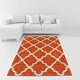 Soft Shag Area Rug 5x7 Moroccan Trellis Orange Ivory Shaggy Rug - Contemporary Area Rugs for Living Room Bedroom Kitchen Decorative Modern Shaggy Rugs