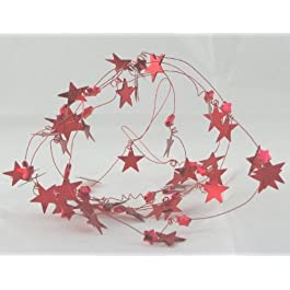 Catena Decorativa In Plastica Stelle Rossa 1,80mt
