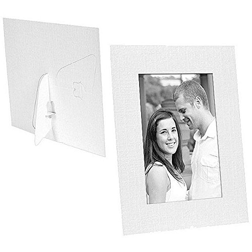 White Paper Cardstock Photo Easel 4x6 Frame w/plain border sold in 25s - 4x6 (Cardboard Photo Frame 4x6 compare prices)