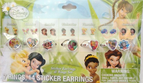 Disney Fairies Sticker Earrings & Ring Set - 1