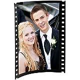 "Black Acrylic Photo Frame with Film Strip Design on Sides, Holds 5"" x 7"" Photos"