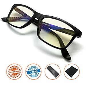 J+S Vision Blue Light Shield Computer Reading/Gaming Glasses - 0.0 Magnification - Anti blue light 100% UV protection Low color distortion, classic matte black frame - Essential Gaming Gear