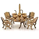 Bagru Crafts Unique Design Dining Table Chair Maharaja Set (196, Brown)
