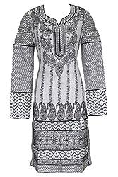 ADA Hand Embroidered Chikan Casual Women's Cotton Straight Kurta Kurti A116523