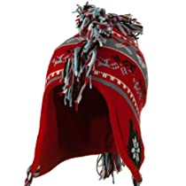 Knit Mohawk Ski Beanie Hat - Red