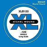 D'Addario XLB125 Nickel Wound Bass Guitar Single String, Long Scale, .125