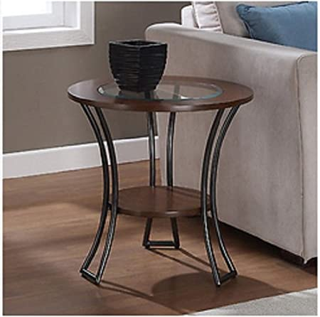Carlisle Walnut / Charcoal Grey Round End Table, Living Room, Furniture, Tables, Coffee Table, Glass Top, Glass End Table