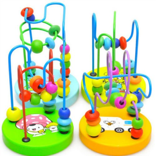 Funny Baby Children Colorful Wooden Toy Around Beads Wire Maze Educational Games
