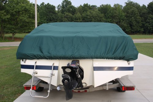VORTEX HEAVY DUTY *GREEN* VHULL FISH SKI RUNABOUT COVER FOR 14 15 16' BOAT, BEST AVAILABLE COVER