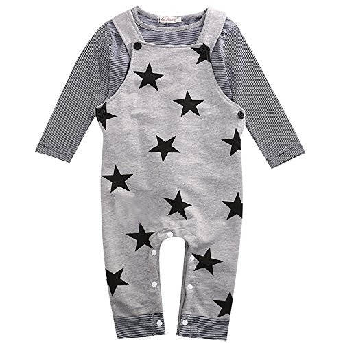 WangsAura Baby Boys Girls Long Sleeve Striped T-shirt and Stars Print Bib Pants Set