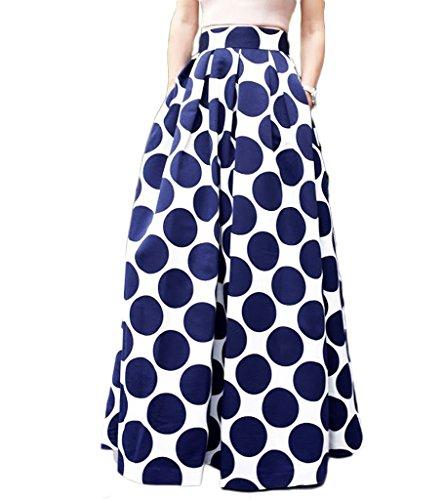 Persun Women Contrast Polka Dot Print Maxi Skater Skirt (Full Skater Skirt compare prices)