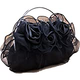 SIL076 fairy tale princess Style 3D Roses Satin Tote Handbag Small Evening Purse Bridal Prom Clutch Gift