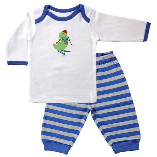 Luvable Friends Long Sleeve Slip On Shirt And Pants Set, Blue, 3-6 Months front-550575