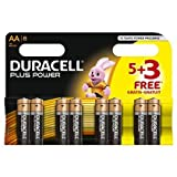 2 X Duracell MN1500 Plus Power Alkaline Battery AA Size 5 + 3 Free (8 Pack)