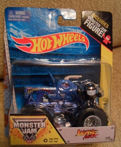 Jurassic Attack with Edge Glow Roll Cage Monster Jam includes Monster Jam Figure (Blue Dinosaur) Off-Road Hot Wheels Monster Truck 1:64 Scale #35 - 1