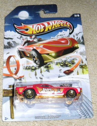Hot Wheels Happy Holidays 2013 red and gold rodger dodger - 1