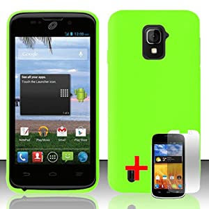 ZTE MAJESTY Z796c GREEN RUBBERIZED PLASTIC COVER HARD CASE + FREE SCREEN PROTECTOR from [ACCESSORY ARENA]