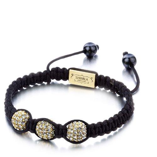 Shimla SH 085 Triple Fire Ball Bracelet - Alloy Gold Plated White Czech Crystal Bead Bracelet