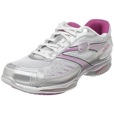 Skechers Women's Shape-Ups Toners-Ultra-Fit Sneaker,Silver/White/Pink,5 M US
