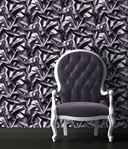 Grey Black F72909 3d Gathered Silk Effect Crushed