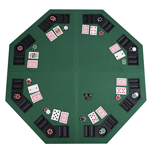 """Eminetshop 48"""" Green Octagon 8 Player Four Fold Folding Poker Table Top & Carrying Case"""