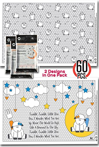 Limited Time Sale - 60 Disposable Placemats for baby, 3 Bags of 20, 4 Sided Stick-On, 2 designs individually folded, BPA LEAD FREE & Biodegradable (Terry Price Ware compare prices)