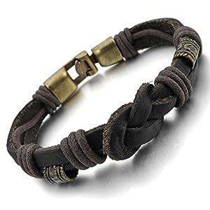 MunkiMix Alloy Genuine Leather Bracelet Bangle Rope Brown Gold Braided Tribal Men by MunkiMix