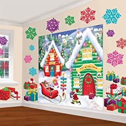 Amscan Winter Wonderland Christmas Party North Pole Mega Value Scene Setters Wall Decorating Kit (pack of 32), Multicolor, One Size