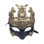 Gold & Silver (Blue) Antique Roman Egyptian Greek Ancient Hercules Mardi Gras Masquerade Mask (Blue/Gold)