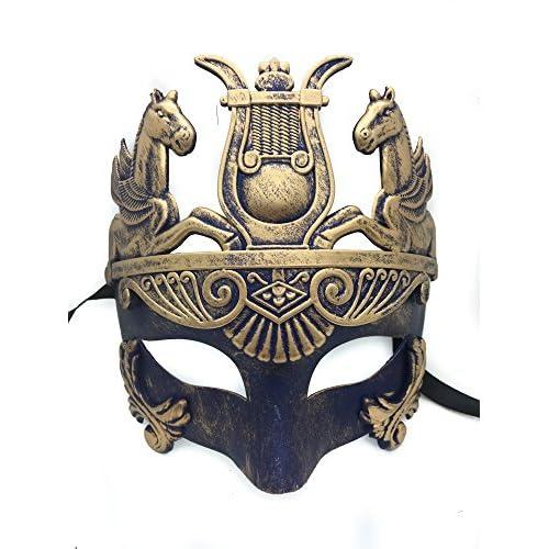Gold & Silver (Blue) Antique Roman Egyptian Greek Ancient Hercules Mardi Gras Masquerade Mask (Blue/Gold)