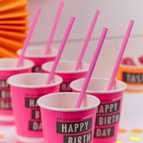 Ginger Ray Neon Pink Fluorescent Party Paper Straws - Neon Birthday