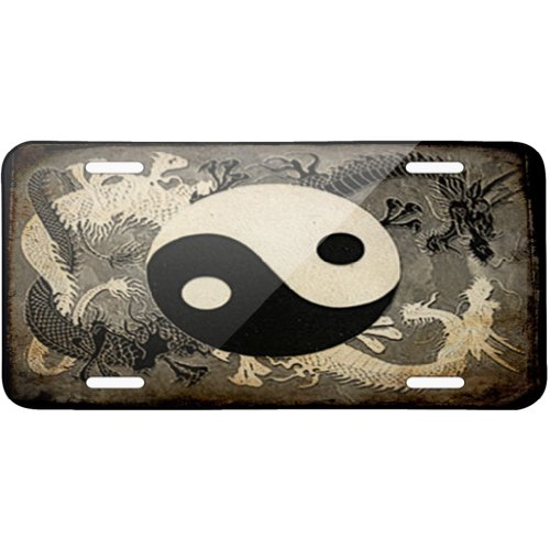 Metal License Plate Yin and yang, ying dragon – Neonblond